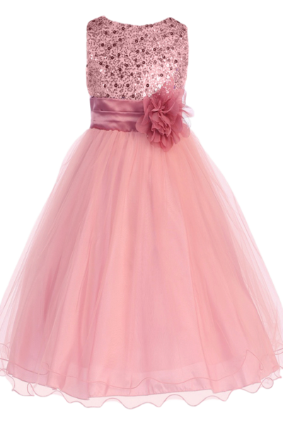 Girls Rose Pink Sequin Party Dress w