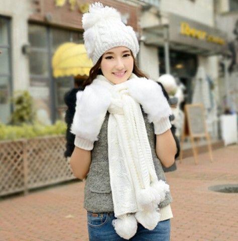 Fashion Womens Hat Scarf And Glove Set Knit Patterns Birthday Gift