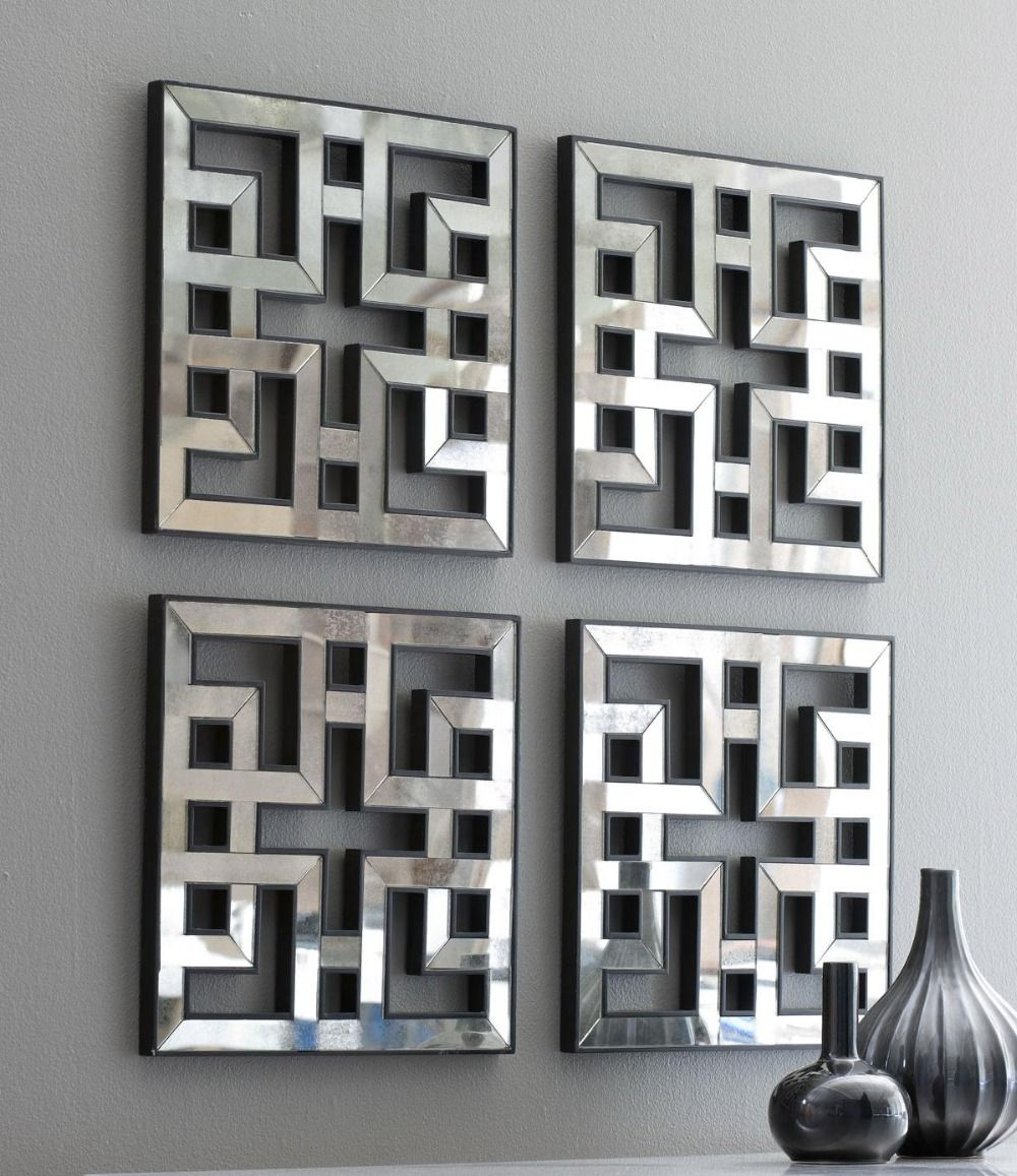 Genial Mirrored Wall Decor Fretwork Square Mirror Framed Wall Art D F1308