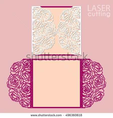 Laser cut wedding invitation card template vector with rose flowers laser cut wedding invitation card template vector with rose flowers cutout paper gate fold card for laser cutting or die cutting template wedding stopboris Gallery