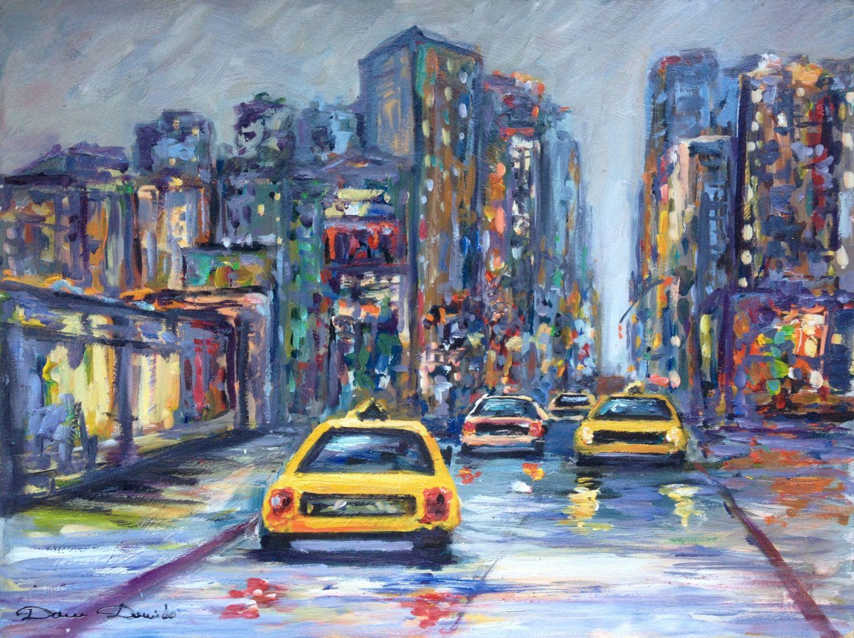 Cote Artiste Peintre Francais urban landscape oil original on panel - oil painting - new