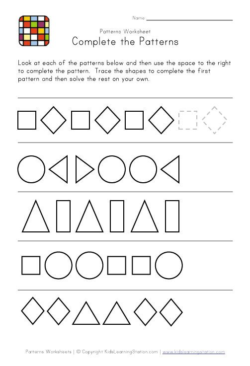 complete the patterns maths pattern worksheets for kindergarten pattern worksheet. Black Bedroom Furniture Sets. Home Design Ideas