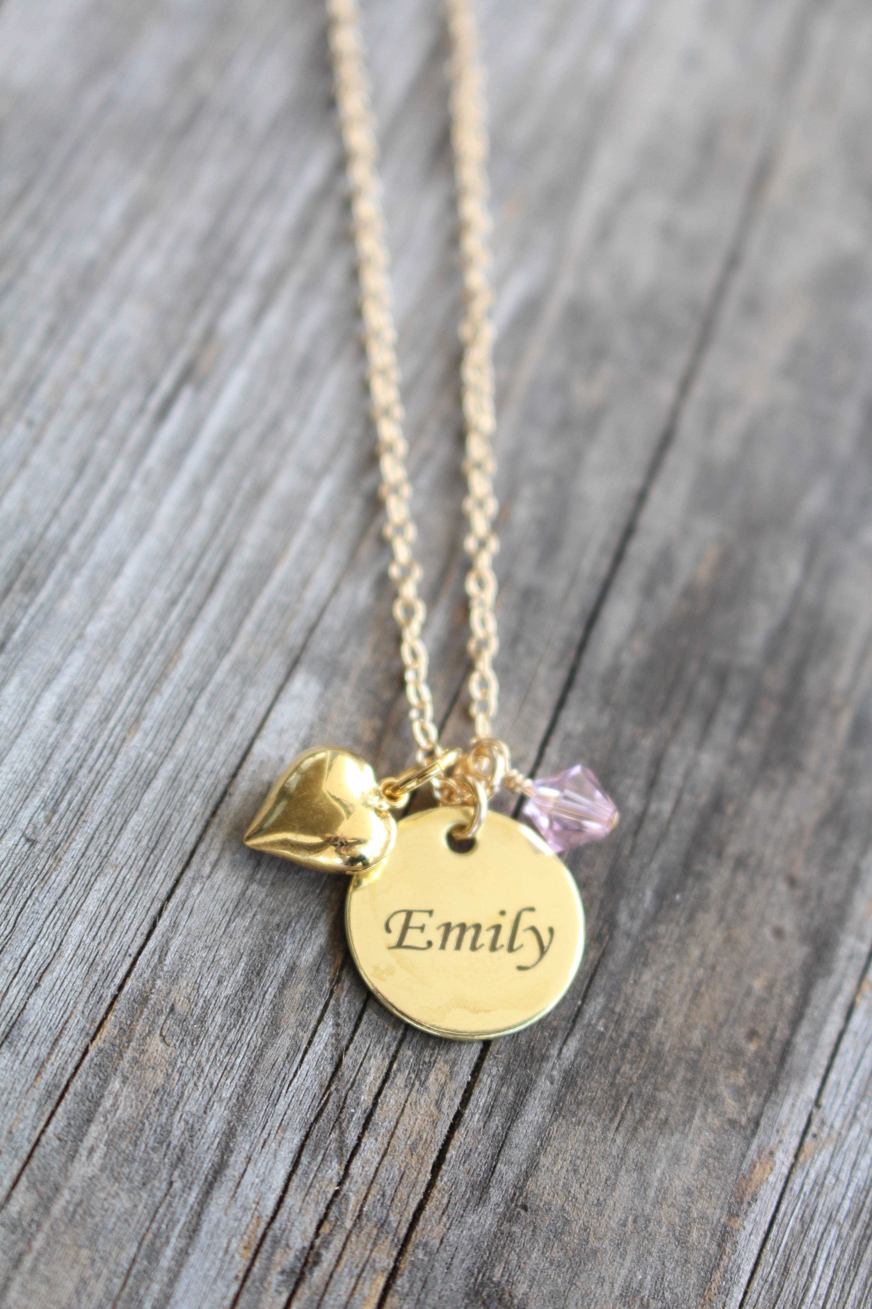 c1ff1d424 Jewelry for Girls Necklaces, Flower Girl Name Necklace, Personalized Custom  Engraved - Birthday Christmas Gift Idea - Birthstone Necklace