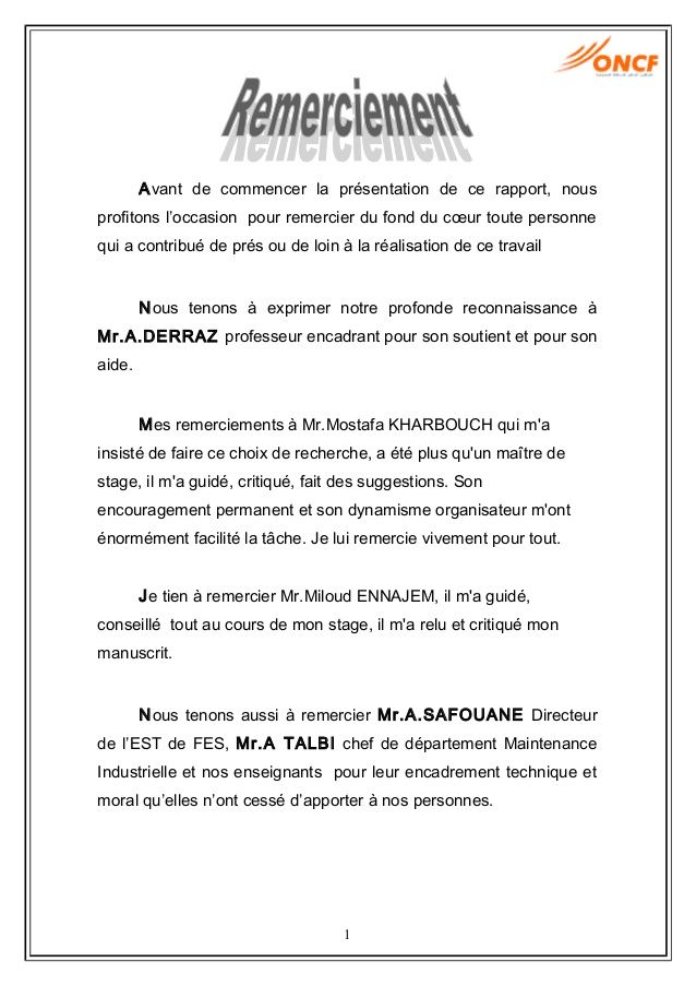 Exemple lettre de remerciement rapport de stage 3eme 9 for Introduction rapport de stage cuisine