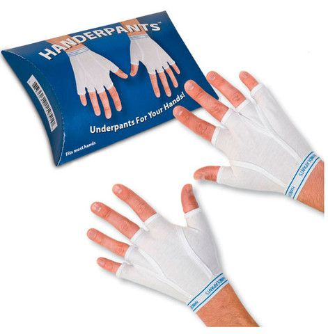 Handerpants are one of those novelty products that defies description. Mostly because they don't really require it. Come on, it's underwear for your hands. Gloves that look like tighty whiteys. What more can anyone say?