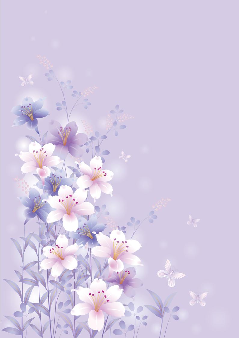 Design Set 2 Butterflies Flowers Paper Background Flower Wallpaper