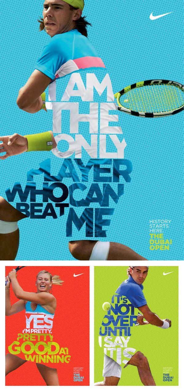 Nike Posters To Promote Their Athletes At The Dubai Open Tennis Tournament Tennis Posters Sports Design Typography Design