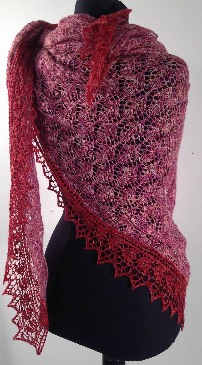 Openwork edging with knitting needles: patterns and description of the pattern for a triangular shawl