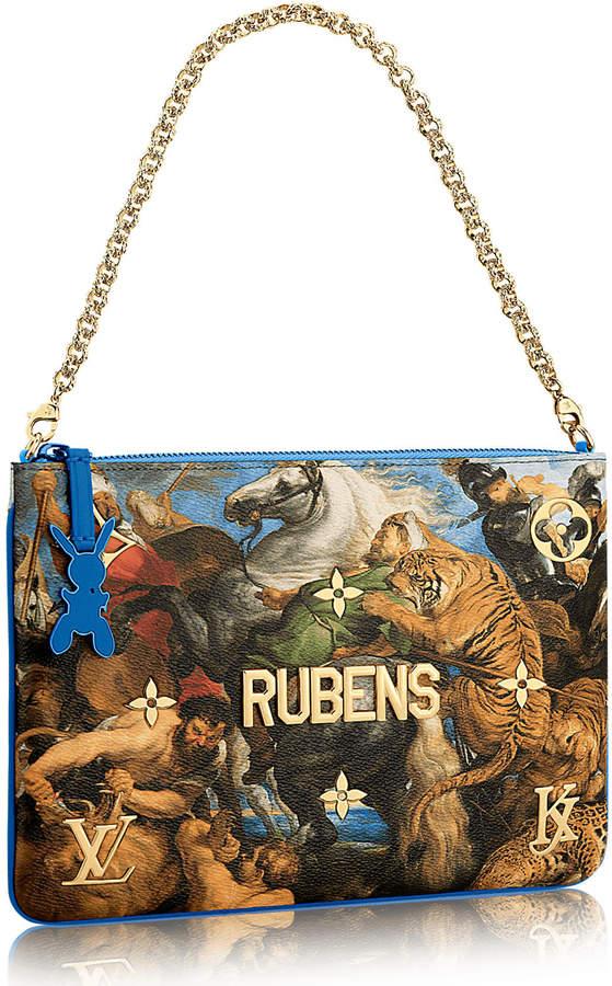 94ae8dd7bc85 Louis Vuitton Clutch Peter Paul Rubens Masters Jeff Koons Blue Multicolor
