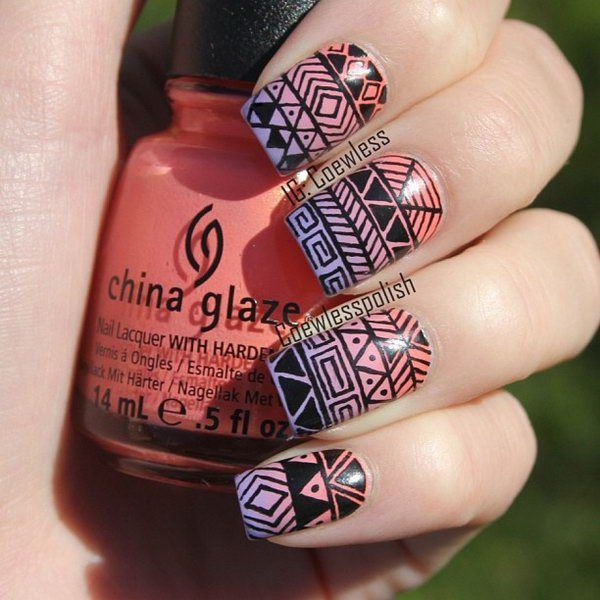 Cool Tribal Nail Art Ideas and Designs. Work to mark rites of passage, helped identify family members or work as a charm to ward off evil spirits. Wonderful for festive or special occasions. http://hative.com/cool-tribal-nail-art-designs/