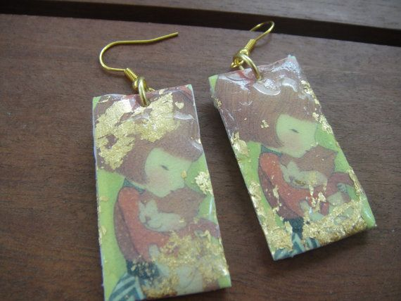 Decoupage earrings with a girl and a cat  by mayasfairytale, $17.00