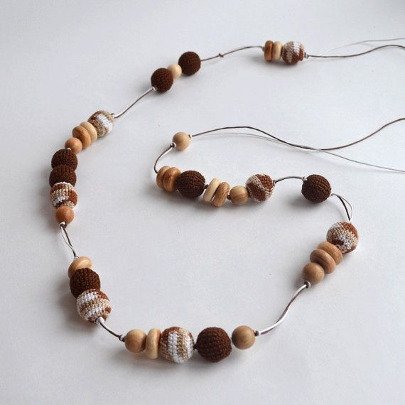 Long brown beige nursing necklace organic and natural sling toy long brown beige nursing necklace organic and natural sling toy baby easter gift negle Choice Image