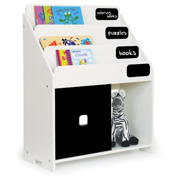 This Chalkboard Bookshelf Has Three Front Facing Shelves And A Large Bottom Storage With Sliding Door Toddler Storage Bookshelves Kids Toy Storage Solutions