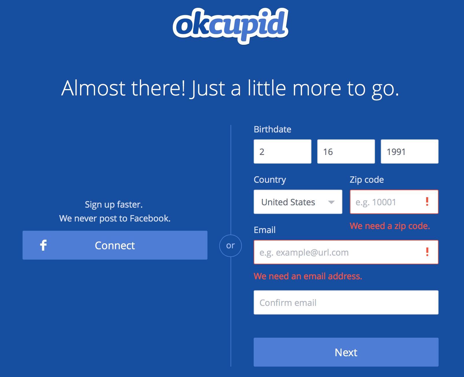 Errors Okcupid, Interactive, Signup