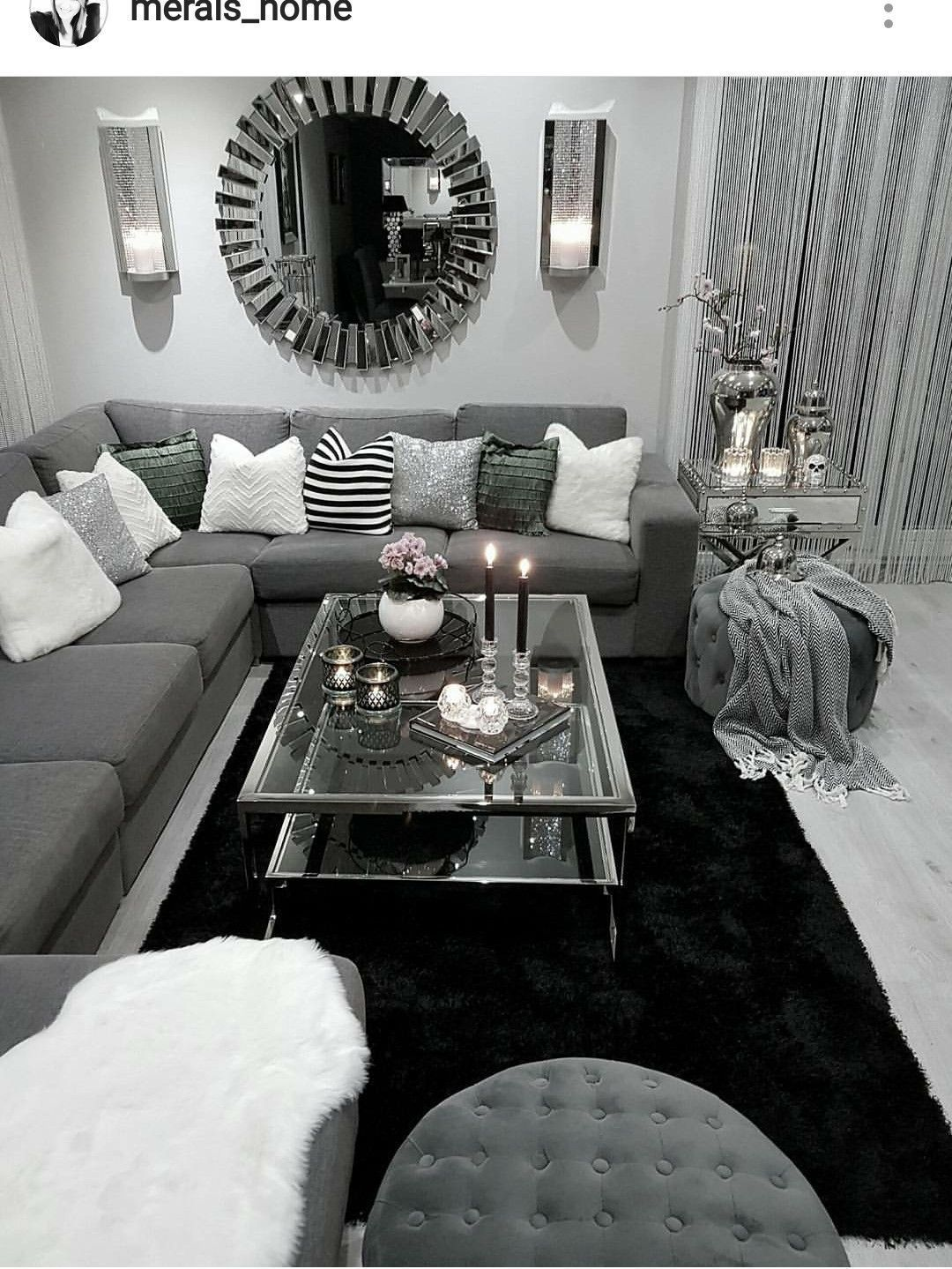 10 comfortable and cozy living rooms ideas you must check - Black and white and grey living room ...