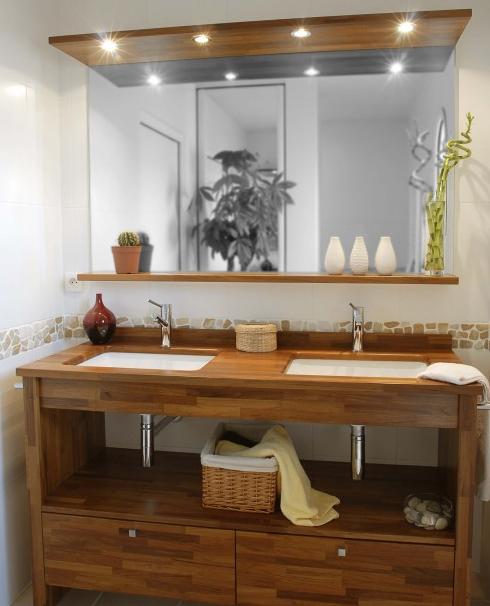 Bois exotique pour salle de bain moderne construire ma maison salle de b - Table cuisine bois exotique ...