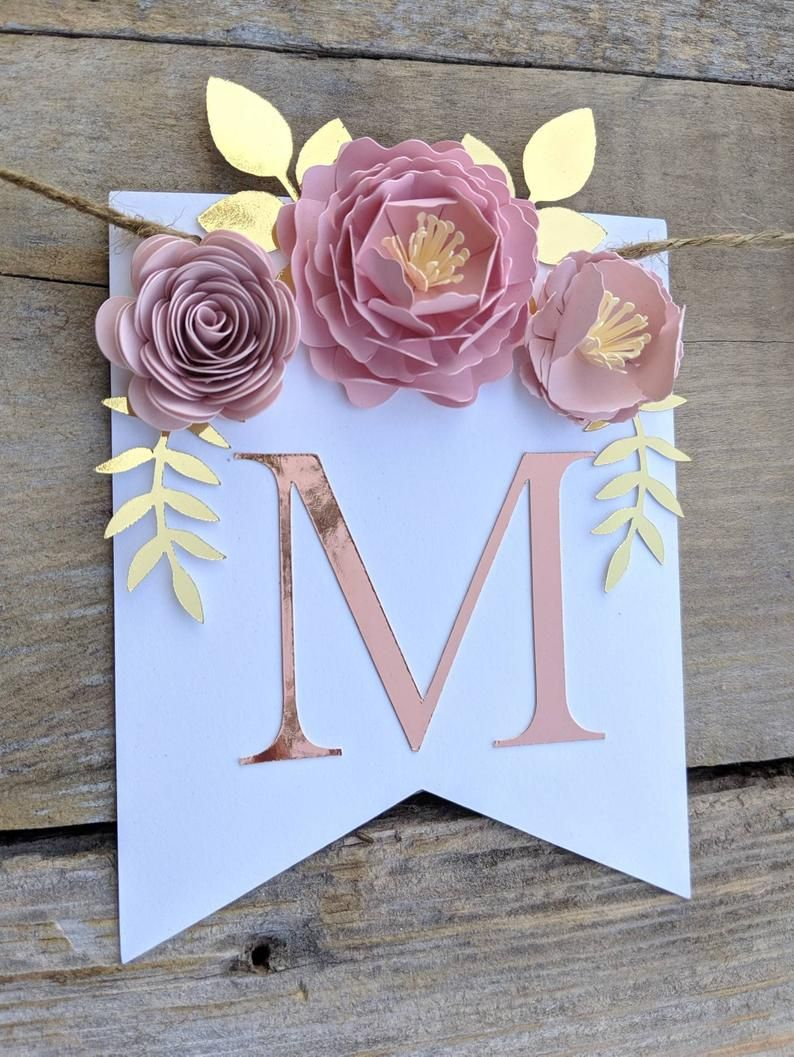 Personalized paper flower garland with blush peonies, Rose gold paper flowers, Pink and gold baby shower, Paper flower backdrop