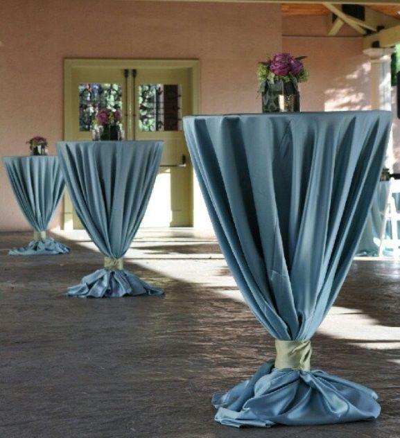 Cocktail wedding reception decor wedding cocktail hour for Glass tables for wedding reception