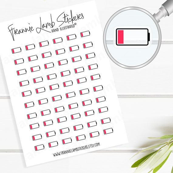 Tiny clear low battery planner stickers clear matte stickers