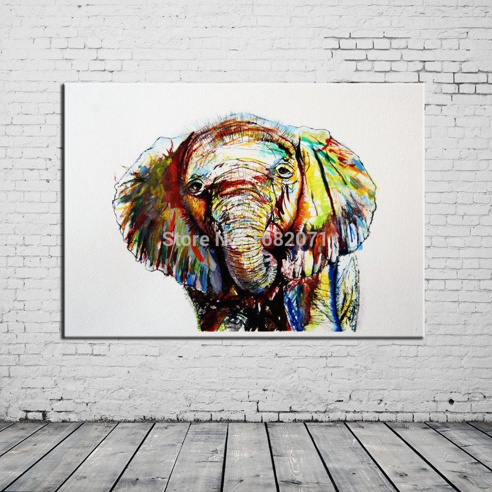 Handmade Big Animal Abstract Elephant Oil Painting On Canvas For Living  Room Decoration