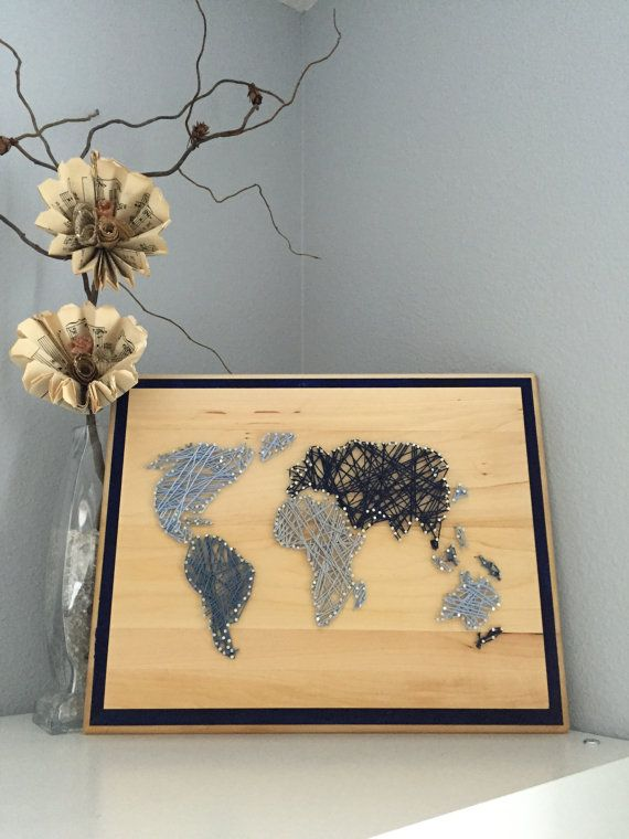 World map string art in shades of blue string art and etsy gumiabroncs Choice Image