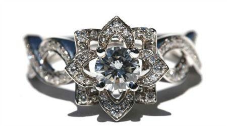 Love in Bloom Lotus Flower Diamond Engagement Ring from Etsy seller BeautifulPetra, $5,250.
