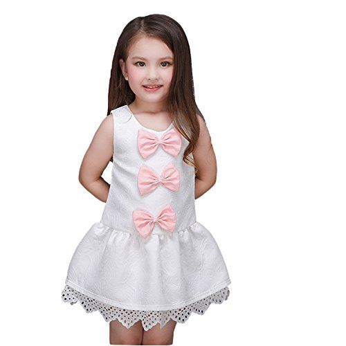 Kidscool Little Girls Sleeveless Three Pink Bowknots Jacquard Princess Dress *** You can find more details by visiting the image link.
