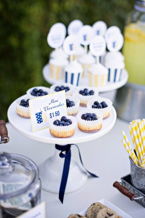 Mini Cheesecakes topped with Fresh Blueberries :: Lemonade & Ice Coffee Stand Ideas http://www.thetomkatstudio.com/icedcoffeestand/