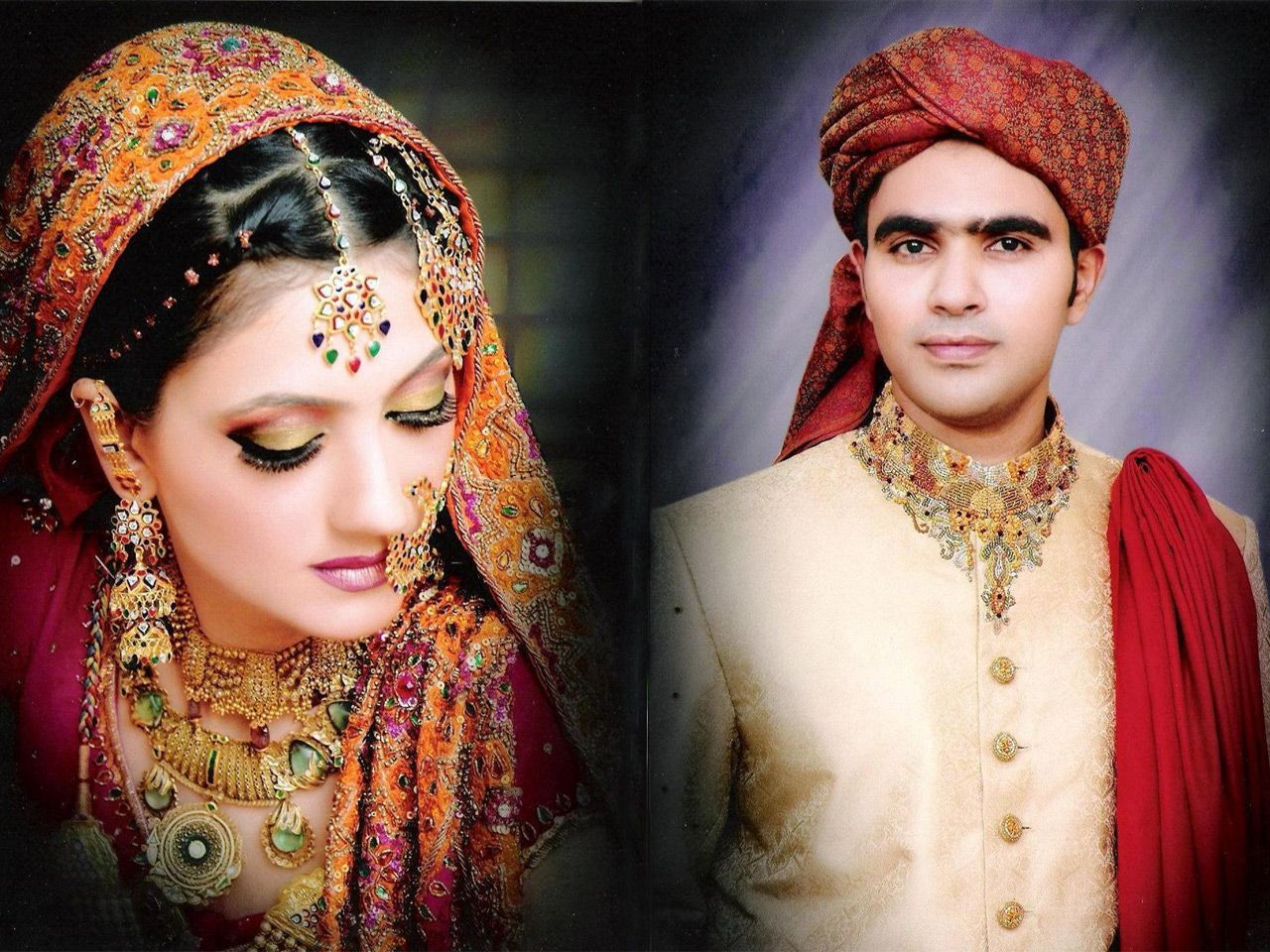 Beautiful Pakistani Couple Bride Dulha Dulhan Groom Wallpapers On Marriage For Desktop
