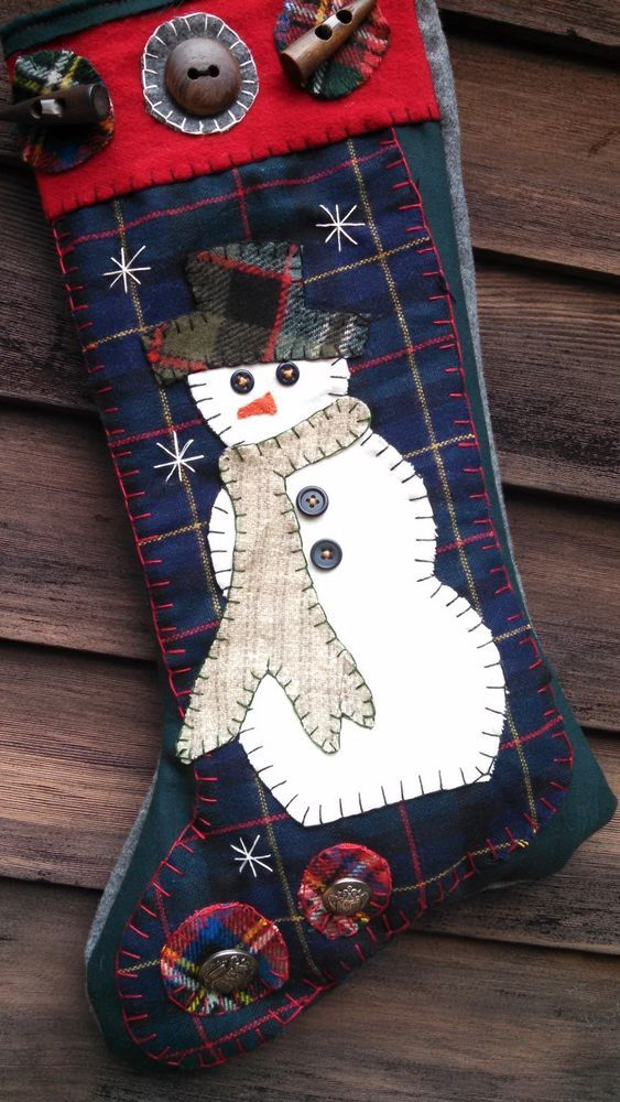 Christmas Stocking, Snowman Holiday Winter Primitive Vintage wool buttons Snow #NaivePrimitive #Artist