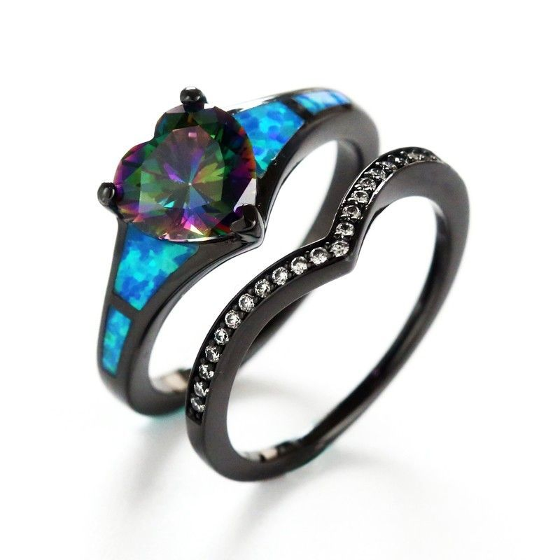 Dark Black Gothic Style Lab Blue Opal Ring Sets With Rainbow ...