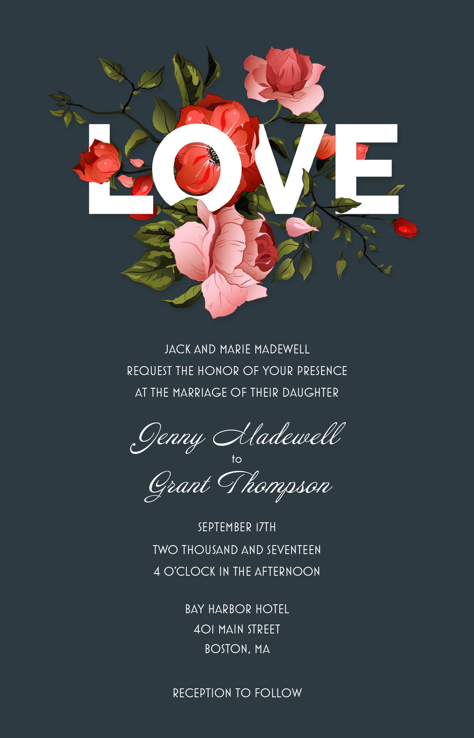Floral wedding invitations vistaprint bold floral wedding floral wedding invitations vistaprint monicamarmolfo Gallery