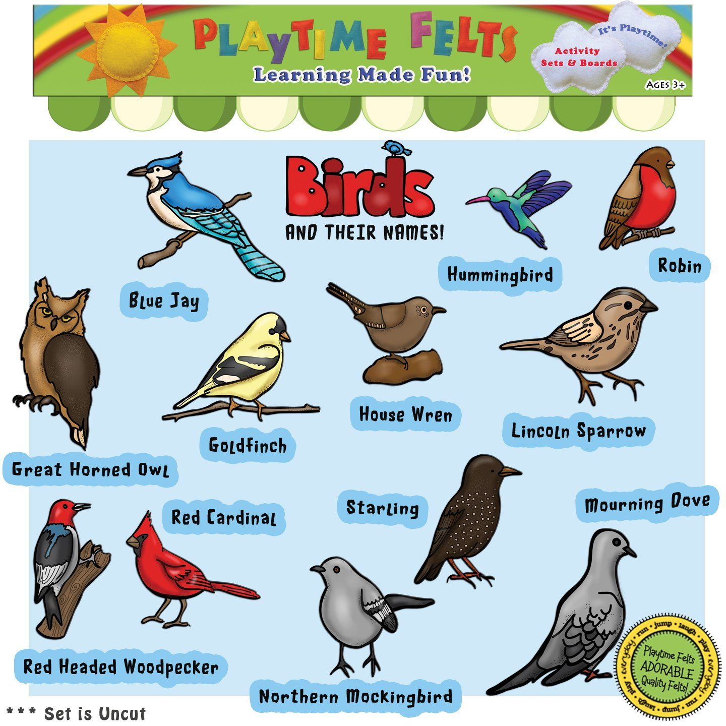 Amazon Birds And Their Names Felt Set For Flannel
