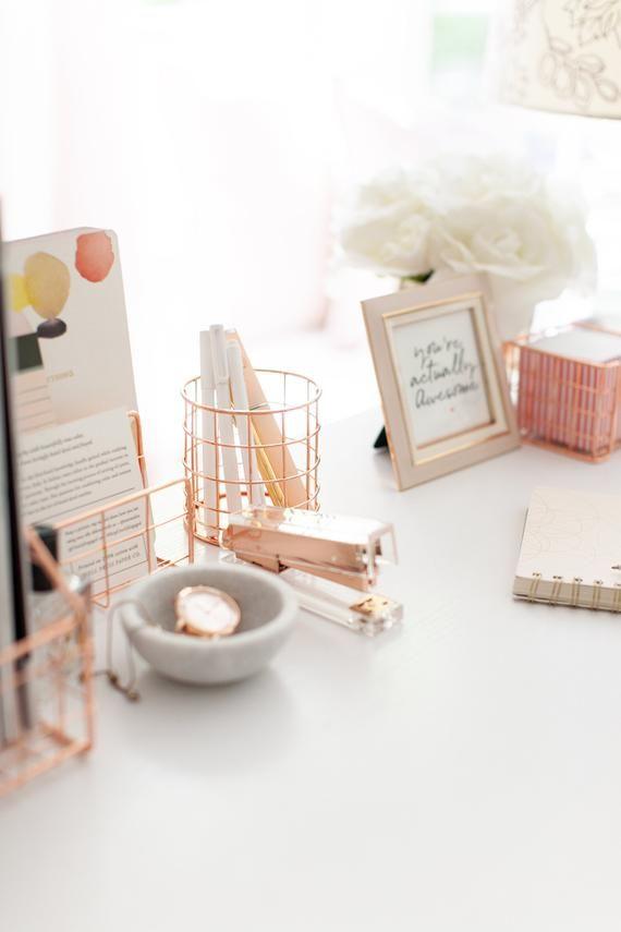 Rose Gold Office Supplies Desk Organizer For Women 4 Piece Wire