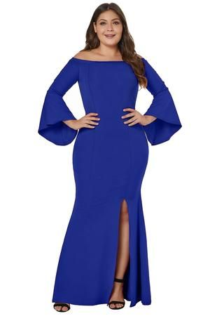 fcb553f92e Plus Size Long Sleeve Off Shoulder Slit Dress (XL-4XL) in 2019 ...