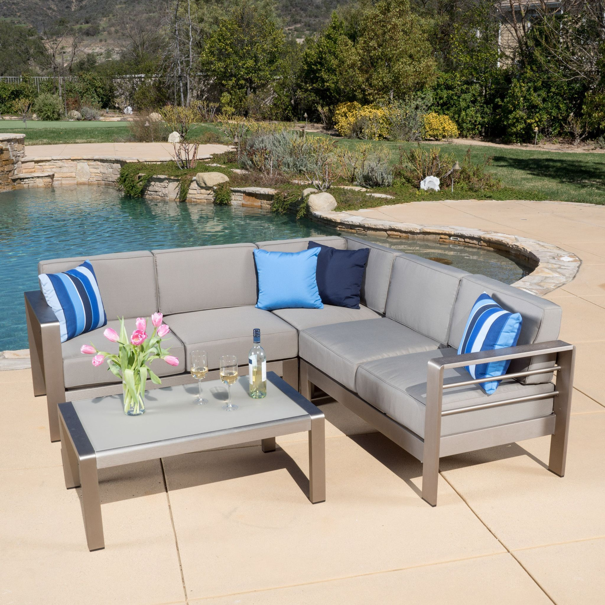 Charming Denise Austin Home Sonora Outdoor Aluminum 4 Piece Sofa Set With Cushions