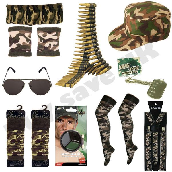 Army Dog Tags Headband Mens Ladies Camouflage Soldier Fancy Dress Accessories