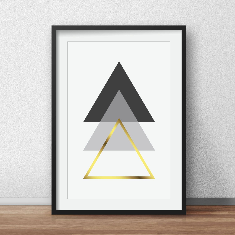 Geometric Print, Black and White, Scandinavian Art, Gold