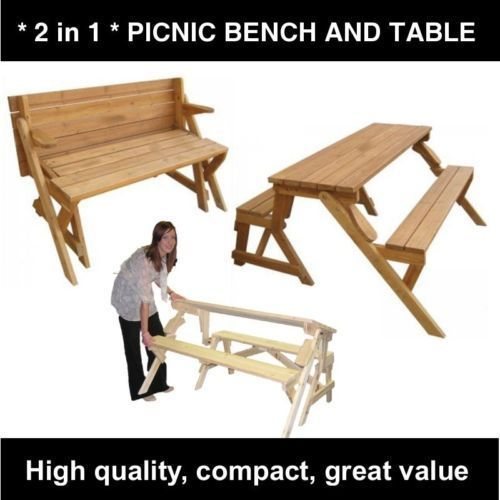 Wood Folding Picnic Bench Table 2 In 1