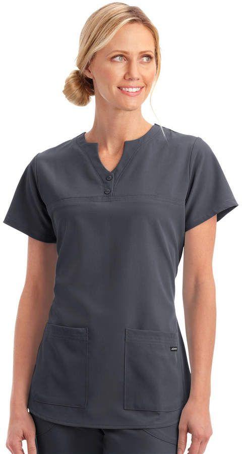c3cbd137396 Women's Jockey Scrubs Classic Button Placket Short Sleeve Top ...