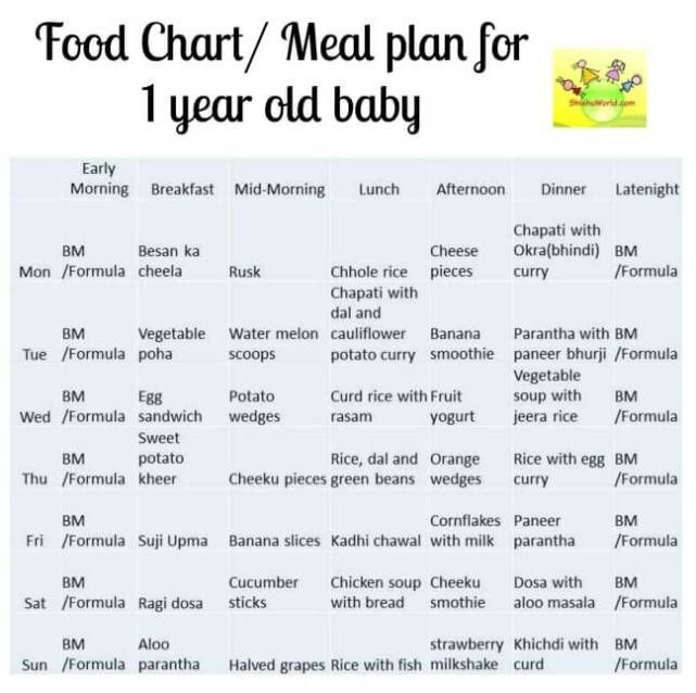 12 Month Baby Food Chart Indian Meal Plan For 1 Year Old Baby With Recipe Ideas Baby Meal Plan Baby Food Chart 12 Month Baby Food