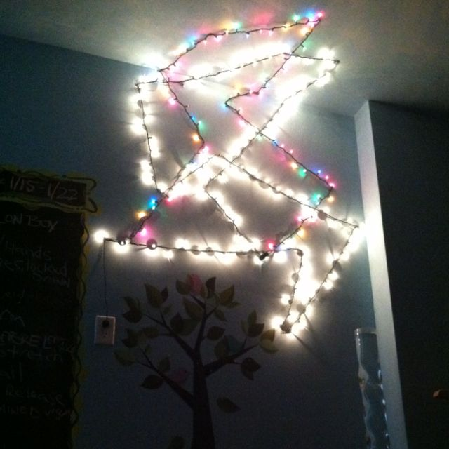 Rope Lights Sensory: Christmas Lights Hung In A Design On The Wall And Ceiling