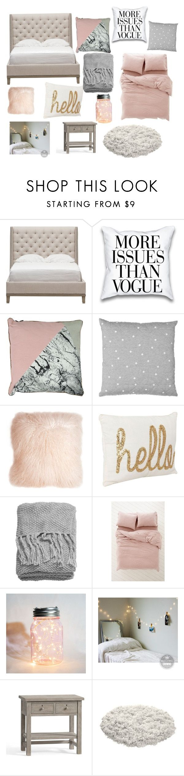 Grey and pink bedroom is part of bedroom Interior Pink - A home decor collage from July 2016 by tpestell featuring interior, interiors, interior design, home, home decor, interior decorating, Vanguard, Pottery Barn, U