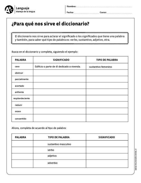 Para Qué Nos Sirve El Diccionario Actividades De Vocabulario Recursos De Enseñanza De Español Practicas Del Lenguaje
