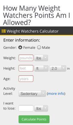 Pin on weight watchers free calculator.