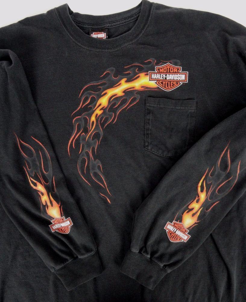 4cf764dbad Harley-Davidson Men 3XL T-Shirt LS Pocket Flames Sleeves   Front Grand  Rapids MI  HarleyDavidson  PocketGraphicTee