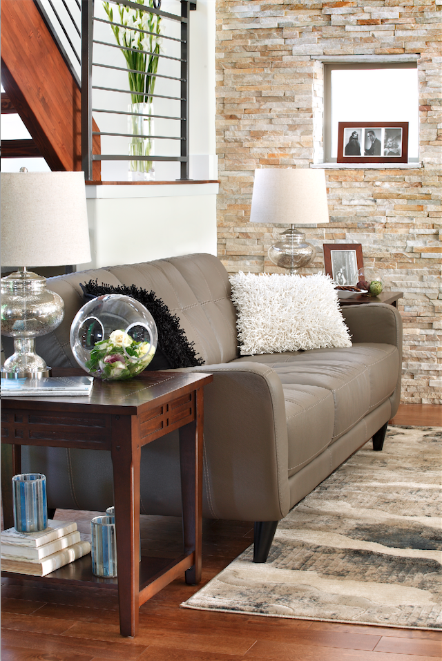 Mid Century Meets Modern Comfort In The Grey Leather Vero Beach Sofa