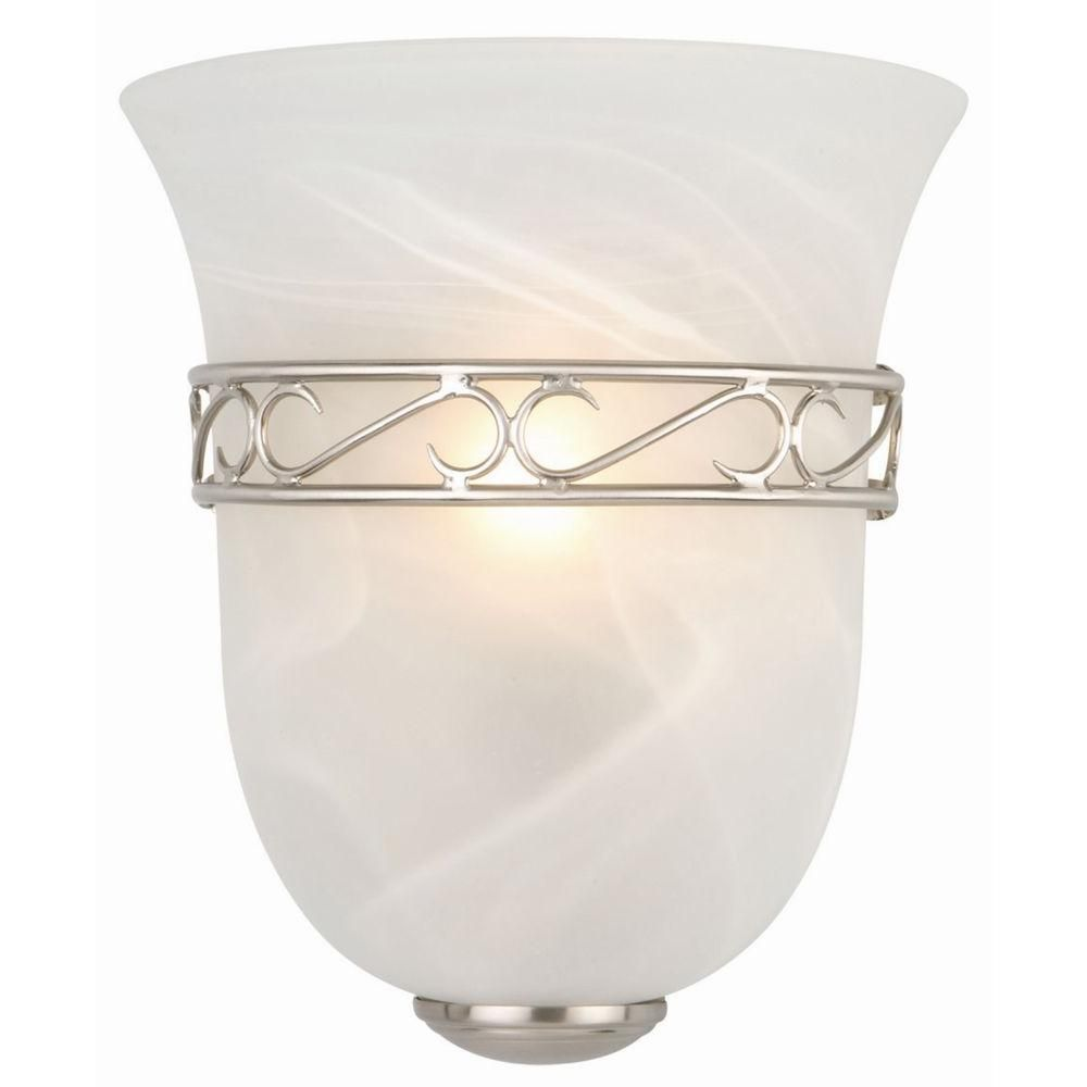 Design House Marlowe 1-Light Satin Nickel Tulip Shape ... on Decorative Wall Sconces Candle Holders Chrome Nickel id=55546