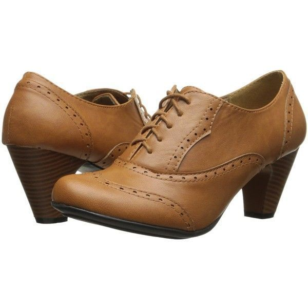 780286583a6c Refresh BH50 Women Leatherette Lace Up Oxford Chunky Heel Bootie Tan ( 18)  ❤ liked on Polyvore featuring shoes
