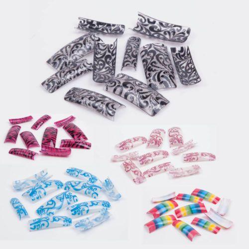 French False Acrylic Nail Tips Pre Designed 100pcs 10 Sizes Glitter